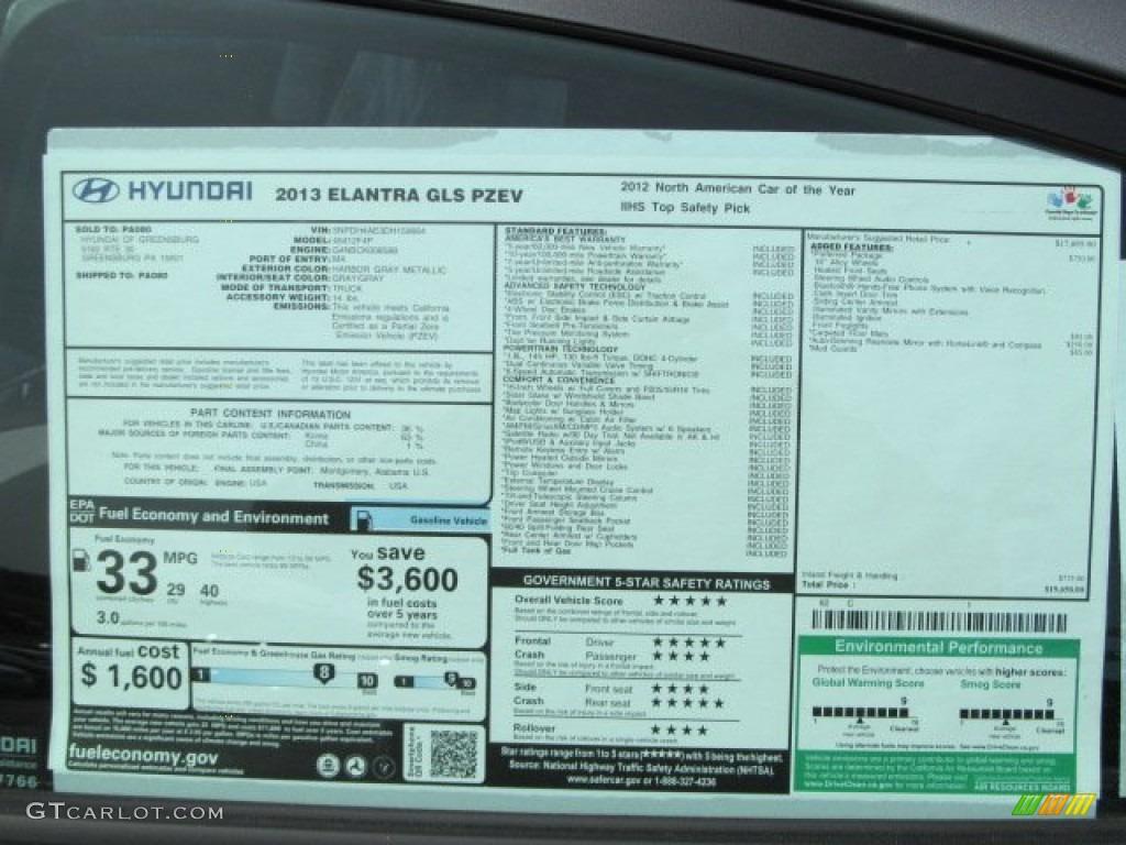 2013 Hyundai Elantra GLS Window Sticker Photo #63435026 ...