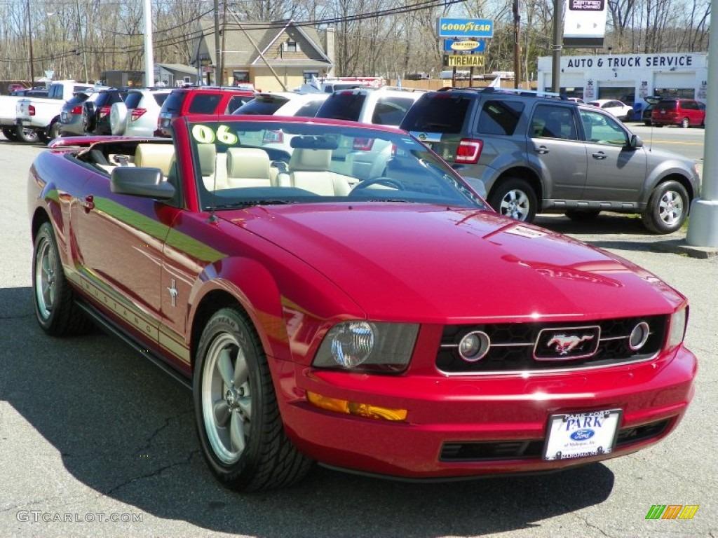 2006 Mustang V6 Premium Convertible - Redfire Metallic / Light Parchment photo #1