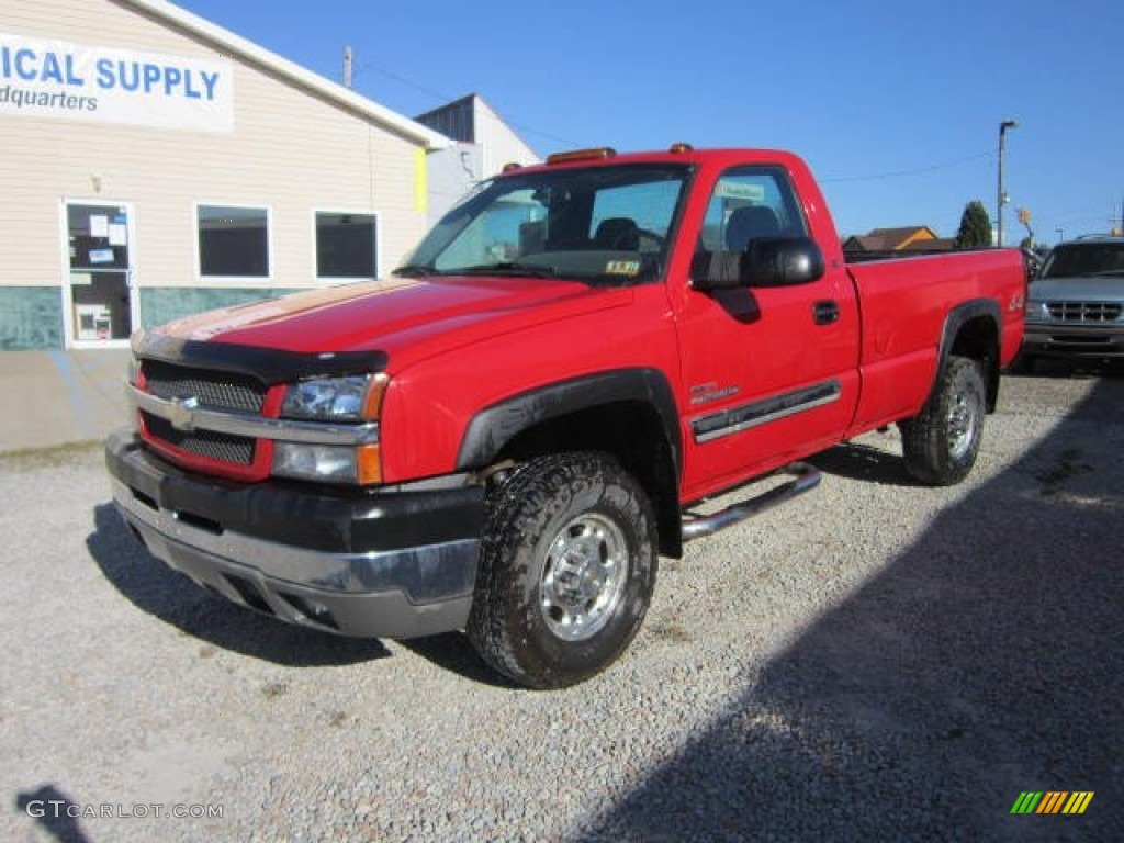 2004 victory red chevrolet silverado 2500hd ls regular cab 4x4 63450650 car. Black Bedroom Furniture Sets. Home Design Ideas