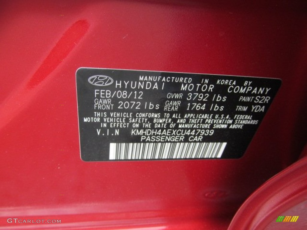 2012 Elantra Color Code S2r For Red Allure Photo 63581282