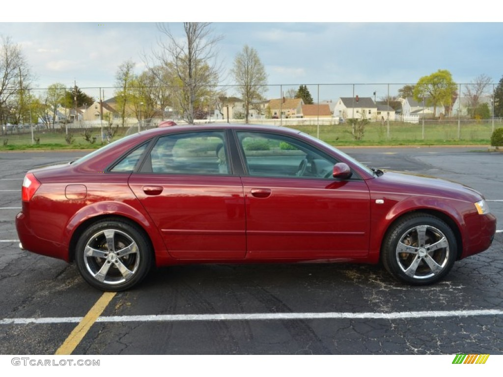 crimson red pearl effect 2004 audi a4 1.8t quattro sedan exterior