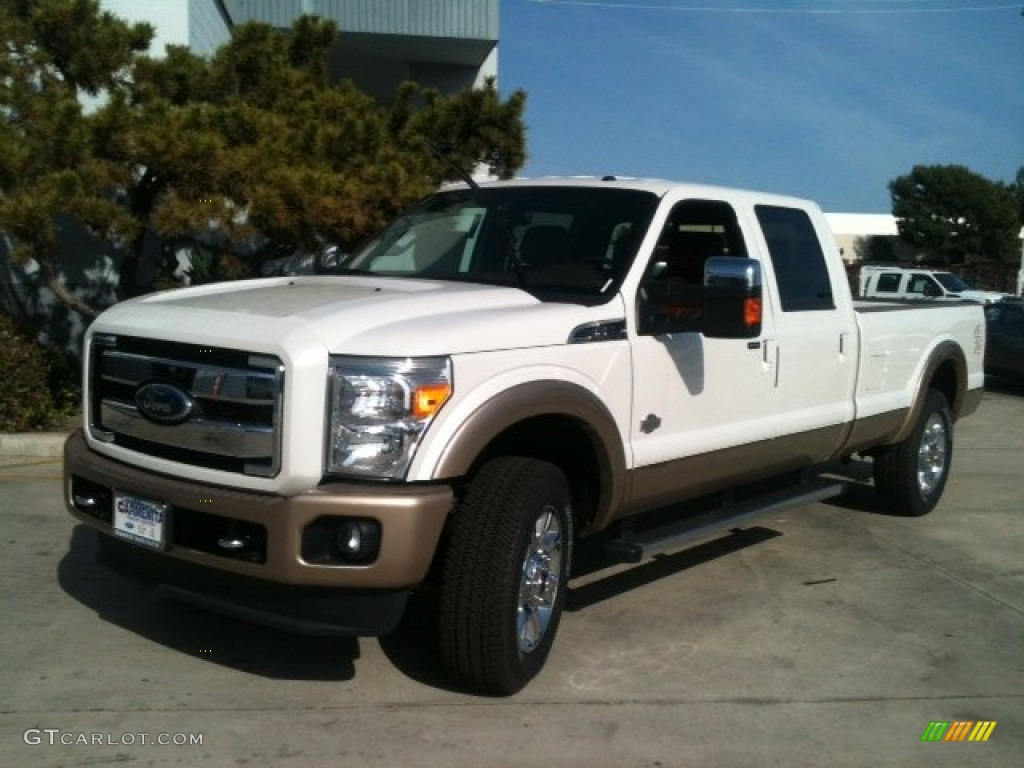 2012 F250 Super Duty King Ranch Crew Cab 4x4 - White Platinum Metallic Tri-Coat / Chaparral Leather photo #1