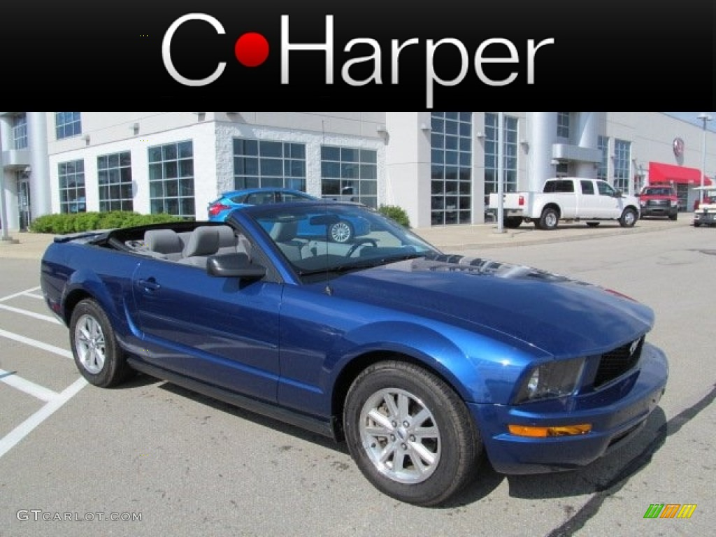 2007 Mustang V6 Deluxe Convertible - Vista Blue Metallic / Light Graphite photo #1