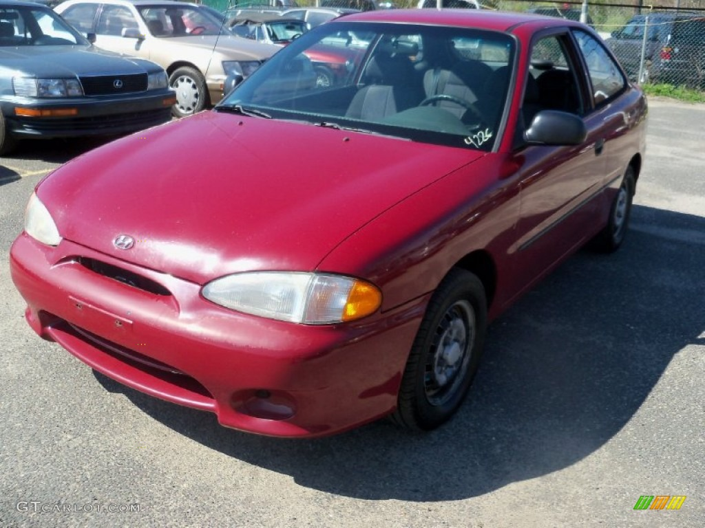 1999 Cherry Red Hyundai Accent L Coupe 63671357 Photo 7
