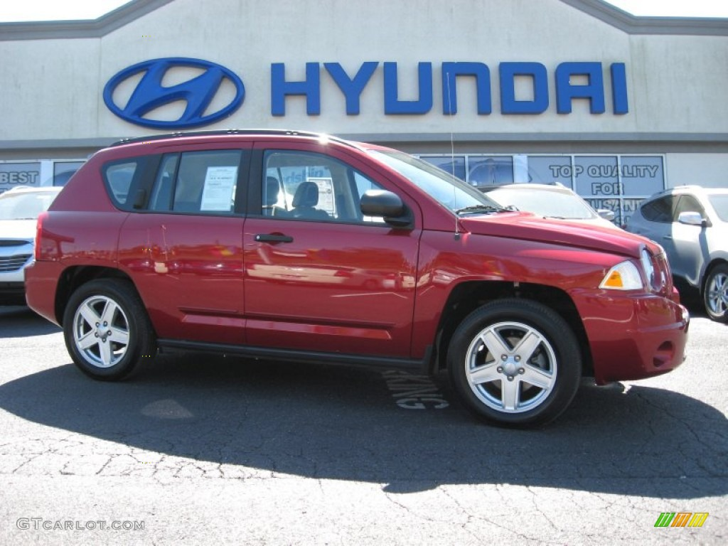 2008 Compass Sport 4x4   Inferno Red Crystal Pearl / Dark Slate Gray Photo  #1