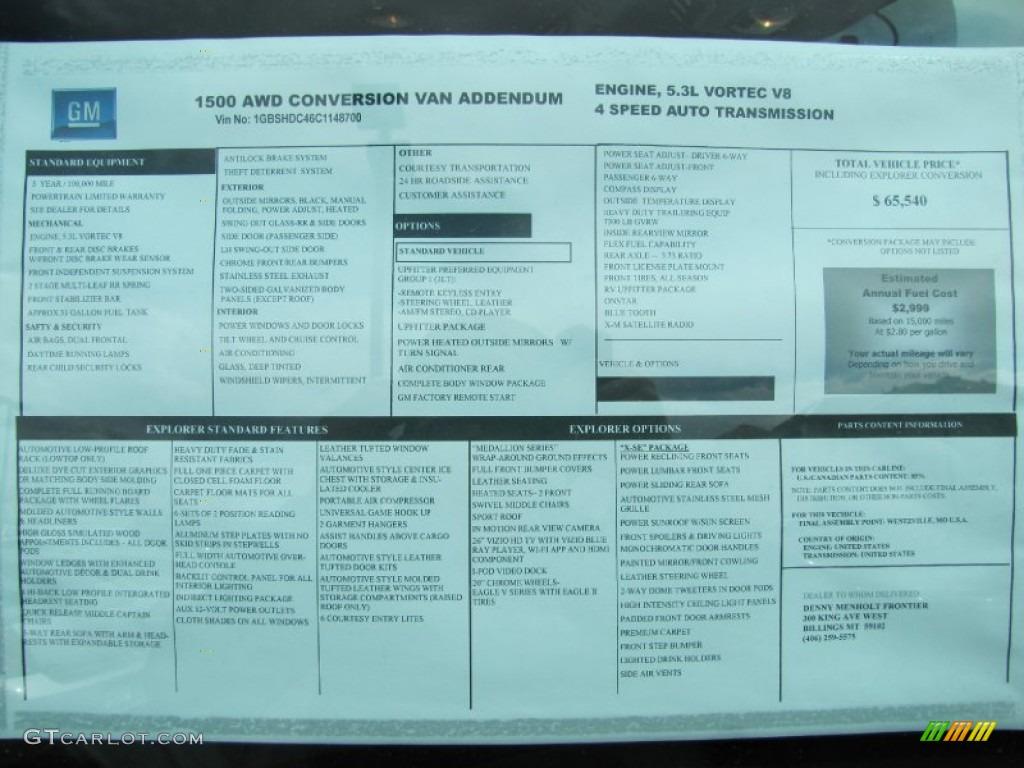 2012 Chevrolet Express 1500 Awd Passenger Conversion Van Window