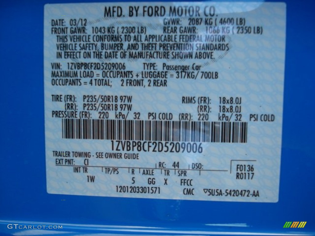 2013 Mustang Color Code CI for Grabber Blue Photo 63909335
