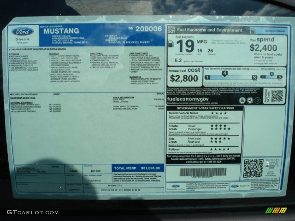 2013 Ford Mustang Gt Coupe Window Sticker Photo 63909341