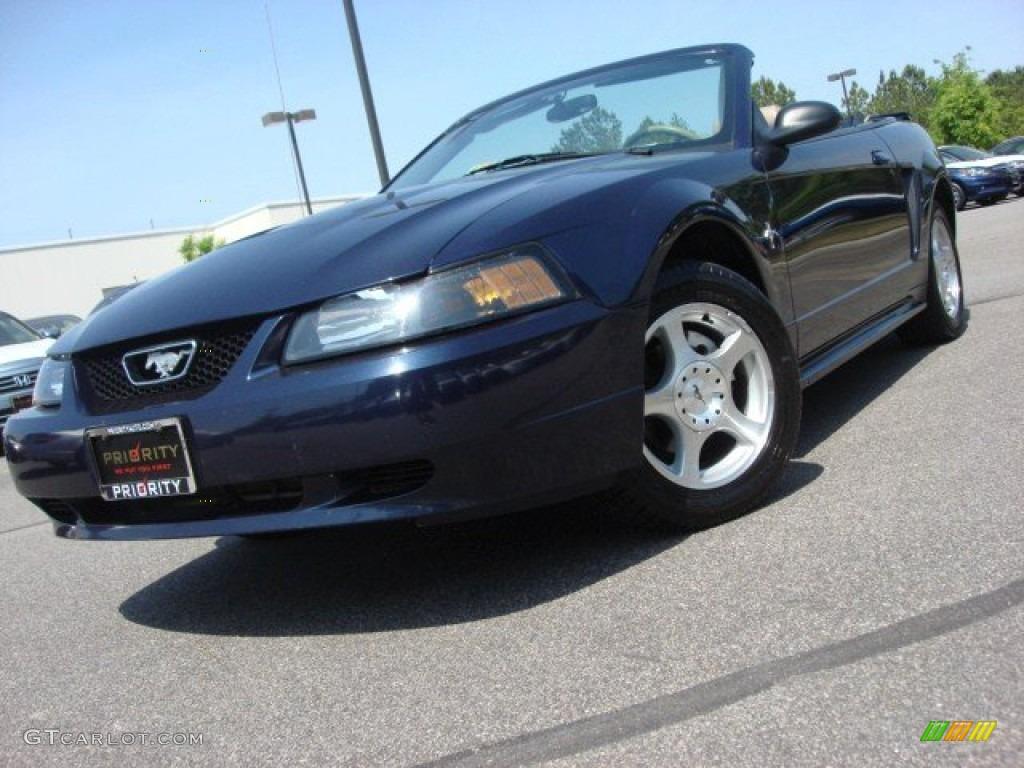 2003 Mustang V6 Convertible - True Blue Metallic / Medium Parchment photo #1