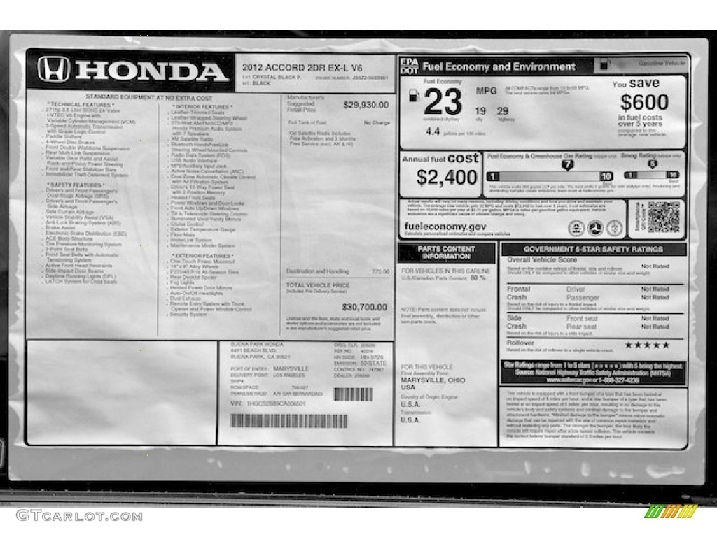 2012 Honda Accord Ex L V6 Coupe Window Sticker Photo