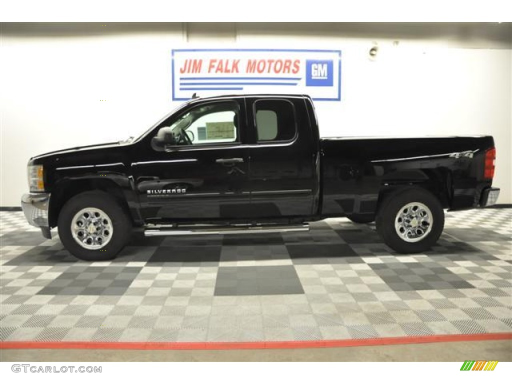 2012 Silverado 1500 LS Extended Cab 4x4 - Black / Dark Titanium photo #2