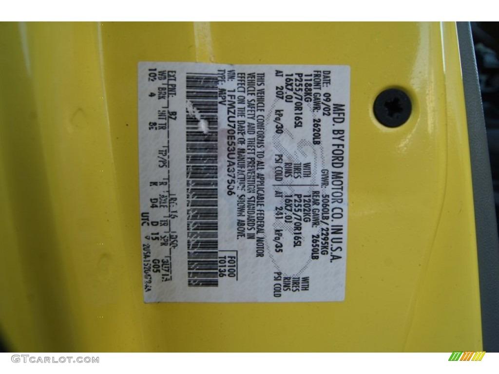 2003 Ford Explorer Sport XLT 4x4 Color Code Photos