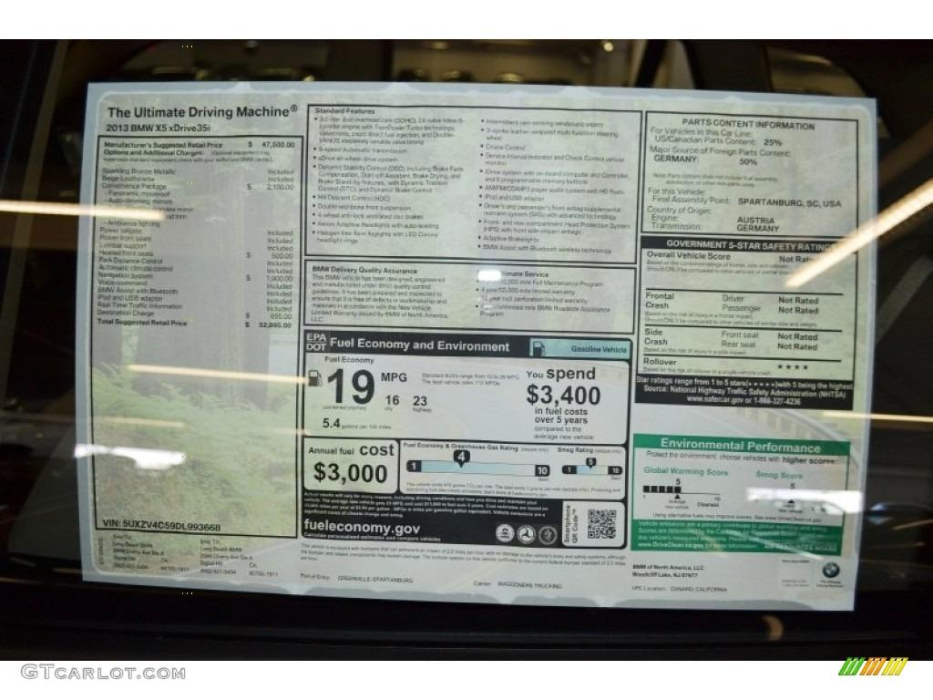 2013 Bmw X5 Xdrive 35i Window Sticker Photo 64448424