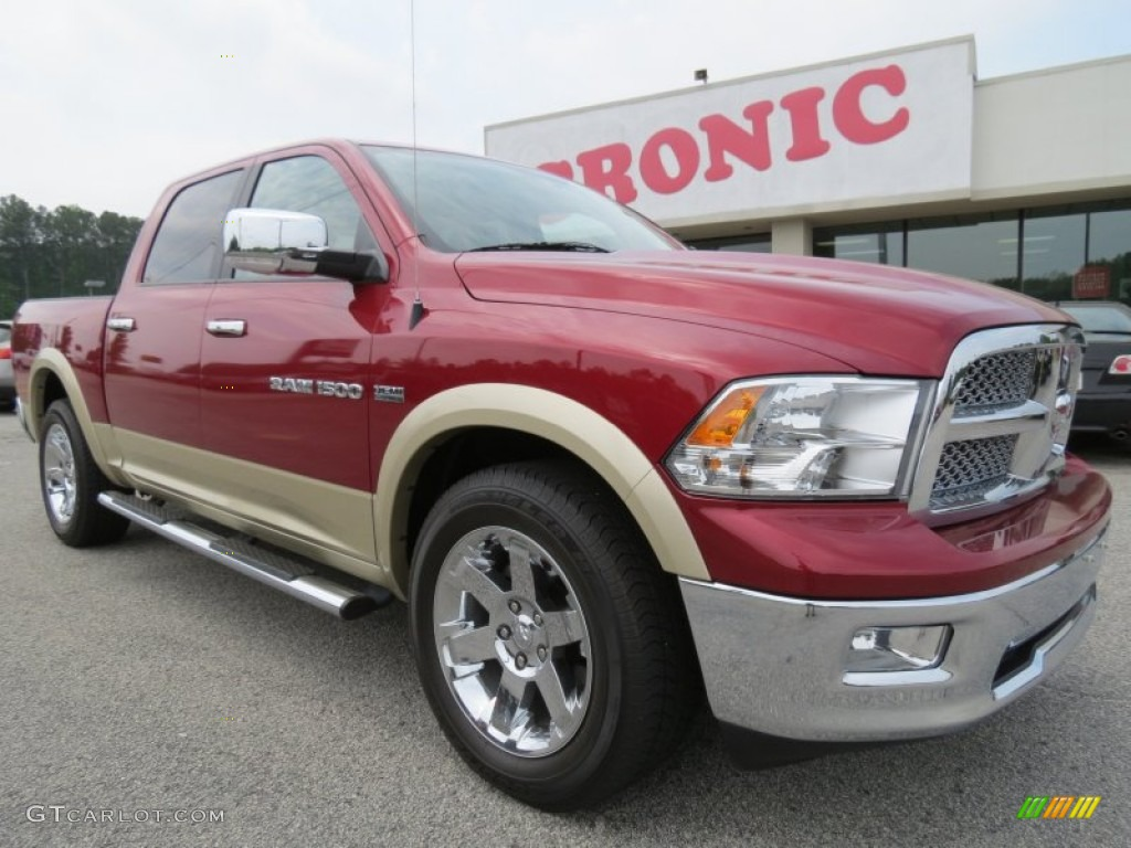 2011 Ram 1500 Laramie Crew Cab - Deep Cherry Red Crystal Pearl / Light Pebble Beige/Bark Brown photo #1