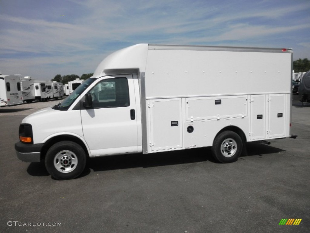 Summit white 2012 gmc savana cutaway 3500 commercial utility truck exterior photo 64533876