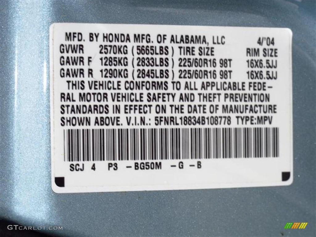 2004 Odyssey Color Code Bg50m For Havasu Blue Metallic