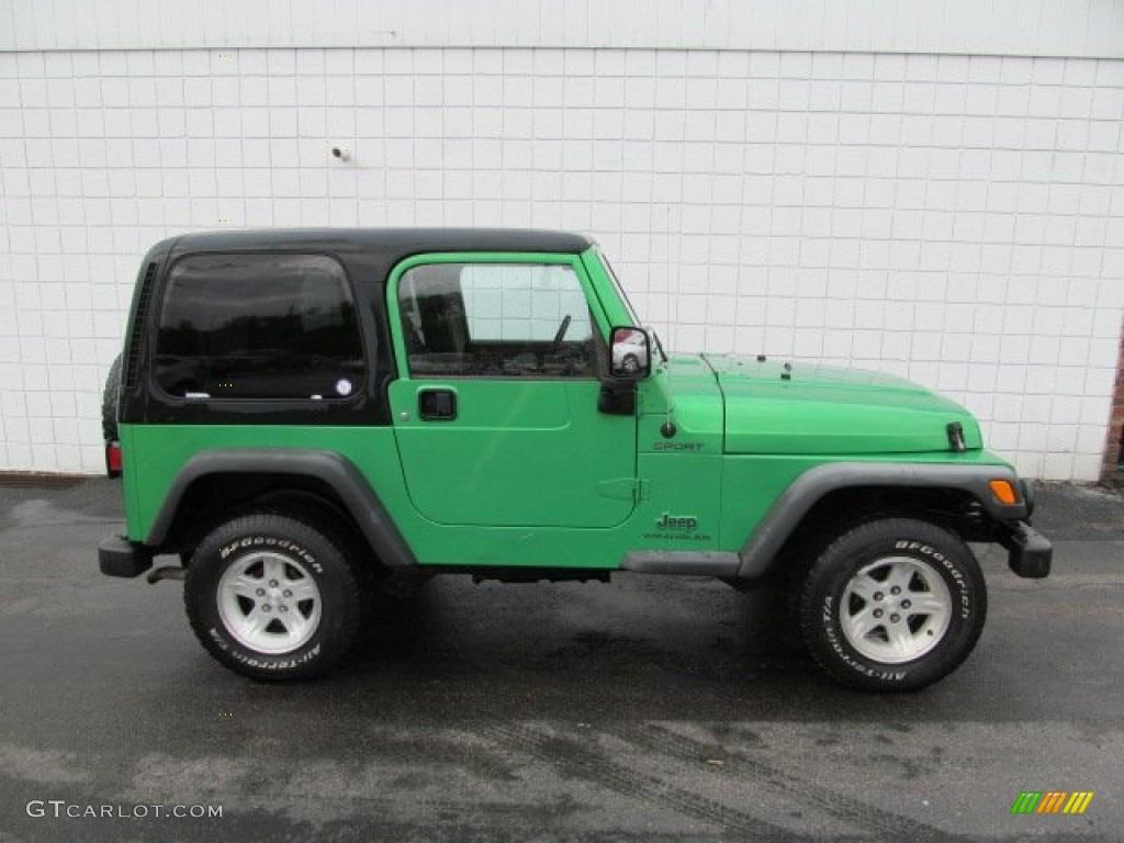 2004 electric lime green pearl jeep wrangler sport 4x4 #64555202