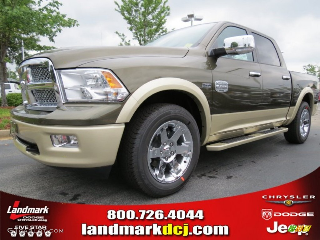 2012 Ram 1500 Laramie Longhorn Crew Cab - Sagebrush Pearl / Light Pebble Beige/Bark Brown photo #1