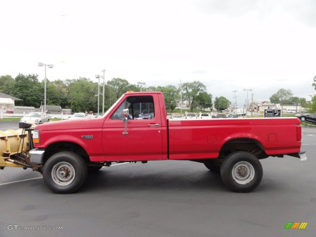 ultra red 1995 ford f350 xl regular cab 4x4 plow truck. Black Bedroom Furniture Sets. Home Design Ideas