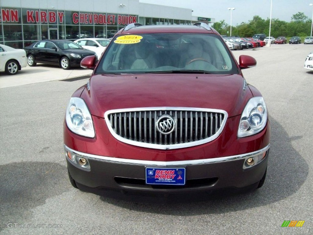 2008 Enclave CXL AWD - Red Jewel / Titanium/Dark Titanium photo #15
