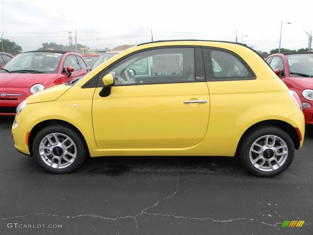 Giallo Yellow 2012 Fiat 500 C Cabrio Pop Exterior Photo