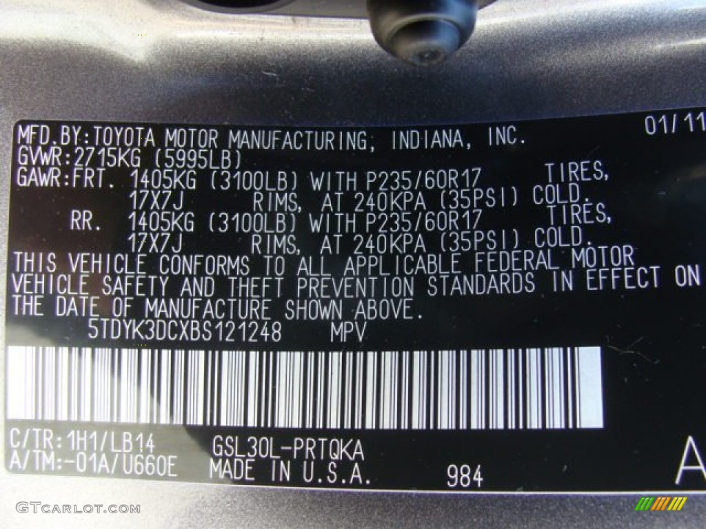 2011 sienna color code 1h1 for predawn gray mica photo Fiat 500 Color Codes Chrysler 300 Color Codes