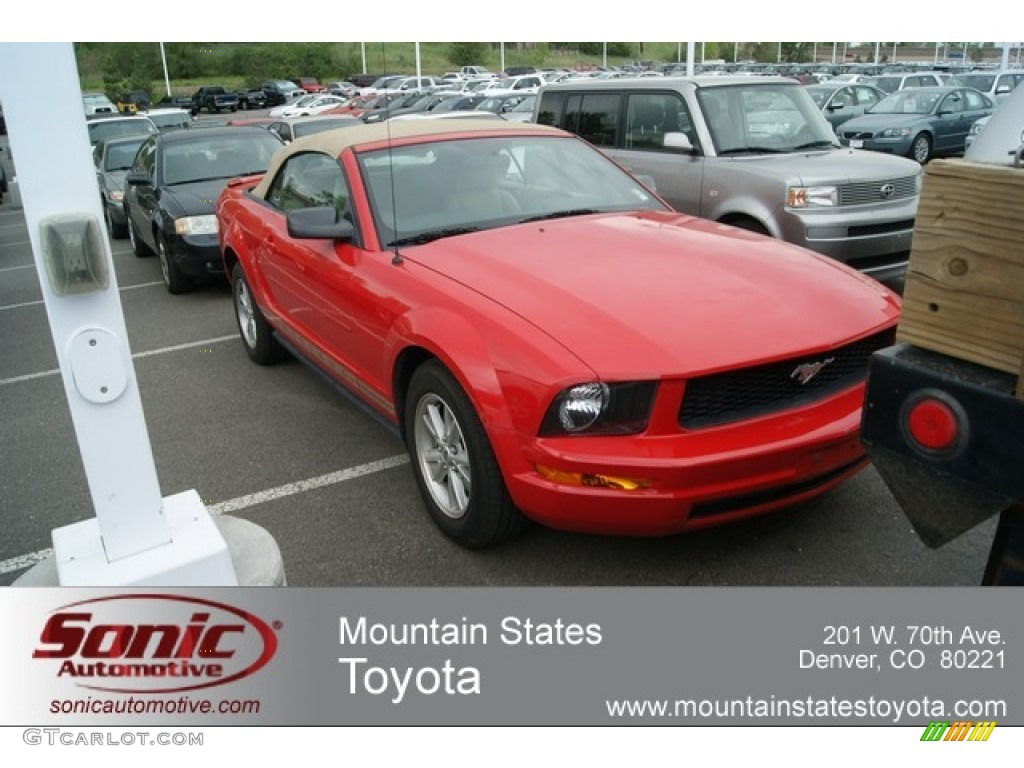 2007 Mustang V6 Deluxe Convertible - Torch Red / Medium Parchment photo #1