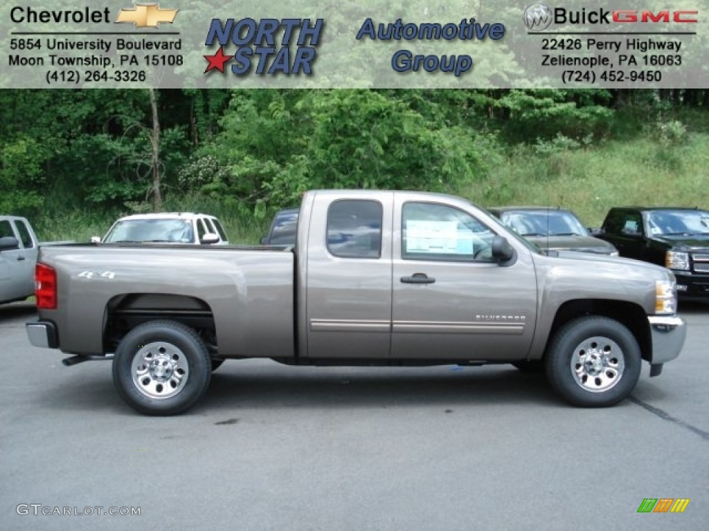 2012 Silverado 1500 LS Extended Cab 4x4 - Mocha Steel Metallic / Dark Titanium photo #1
