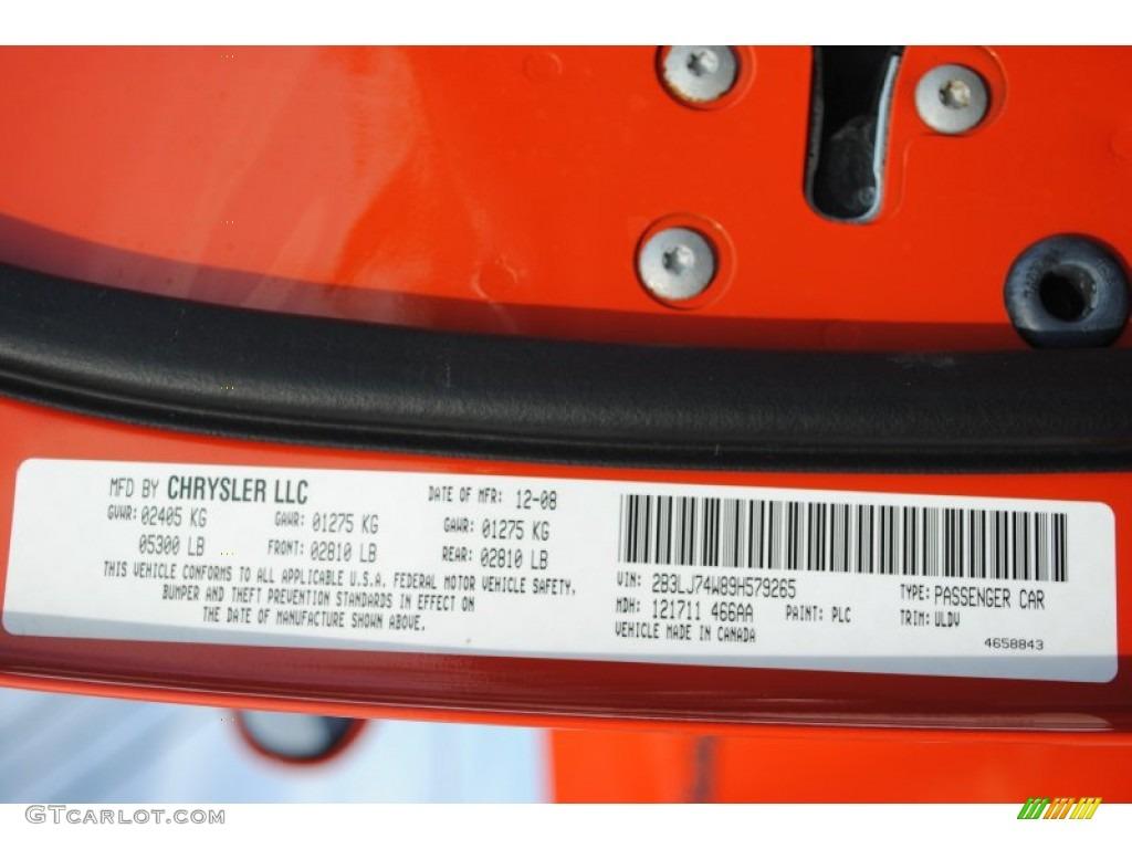 2009 challenger color code plc for hemi orange photo 65585048