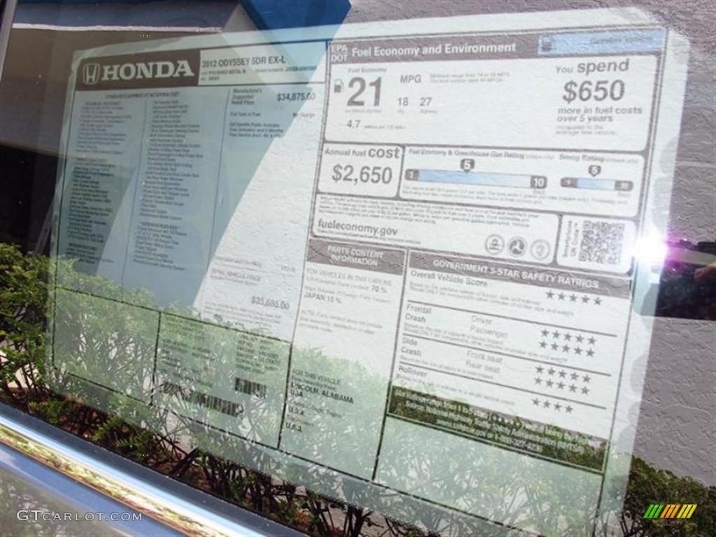 2012 Honda Odyssey Ex L Window Sticker Photo 65643205