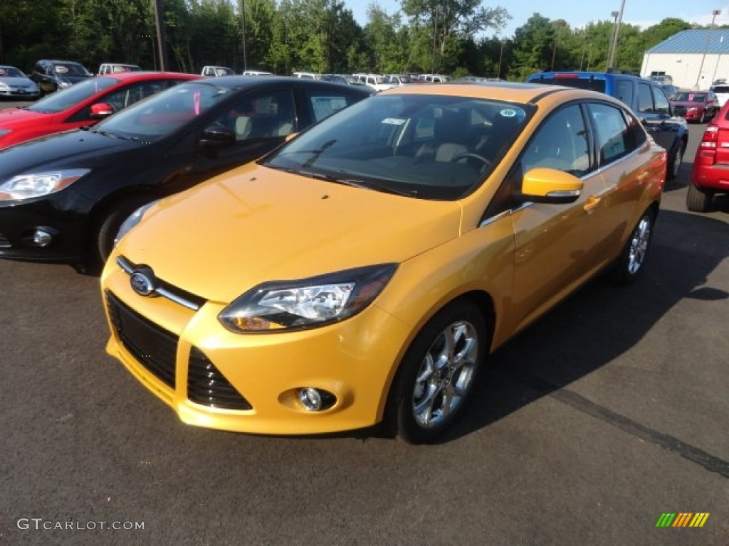 2012 Yellow Blaze Tricoat Metallic Ford Focus Titanium Sedan