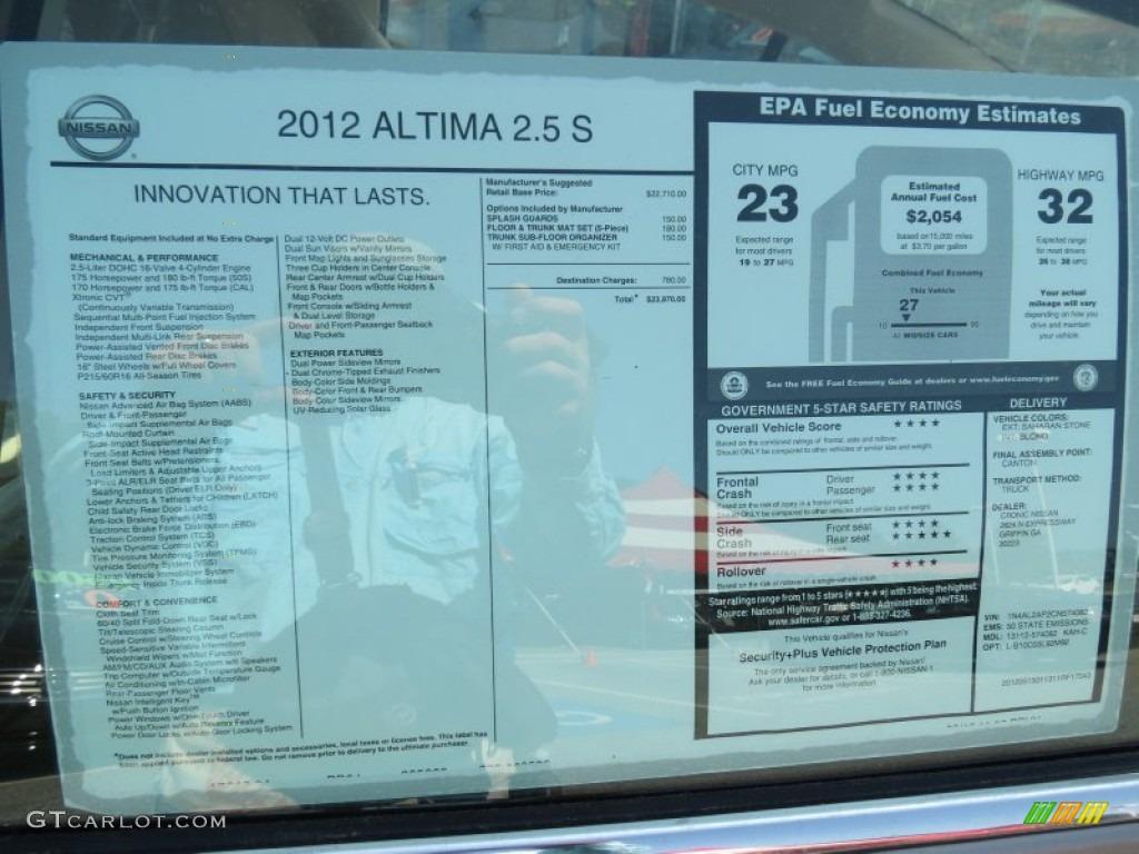 2017 Nissan Altima Sl >> 2012 Nissan Altima 2.5 S Window Sticker Photo #65712320