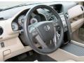 2009 Honda Pilot Beige Interior Steering Wheel Photo
