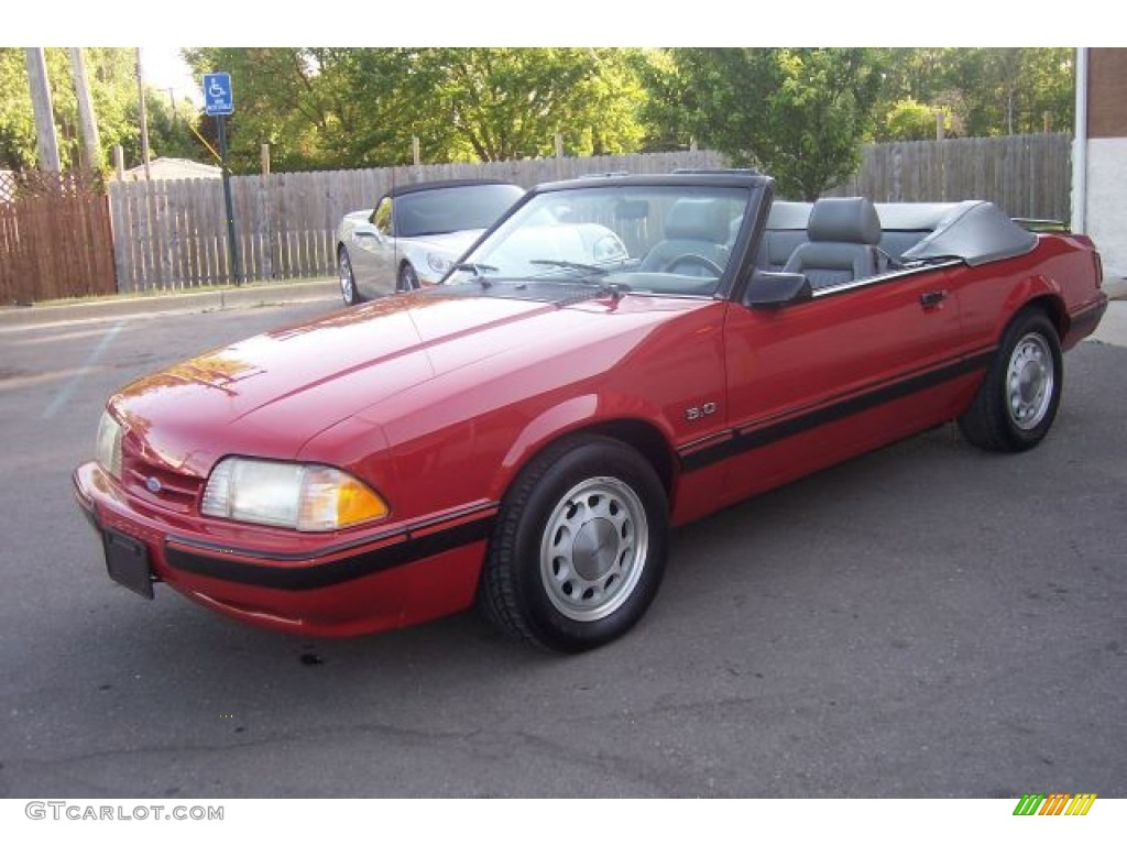 1987 Mustang Lx 5 0 Convertible Medium Cabernet Red Grey Photo 3