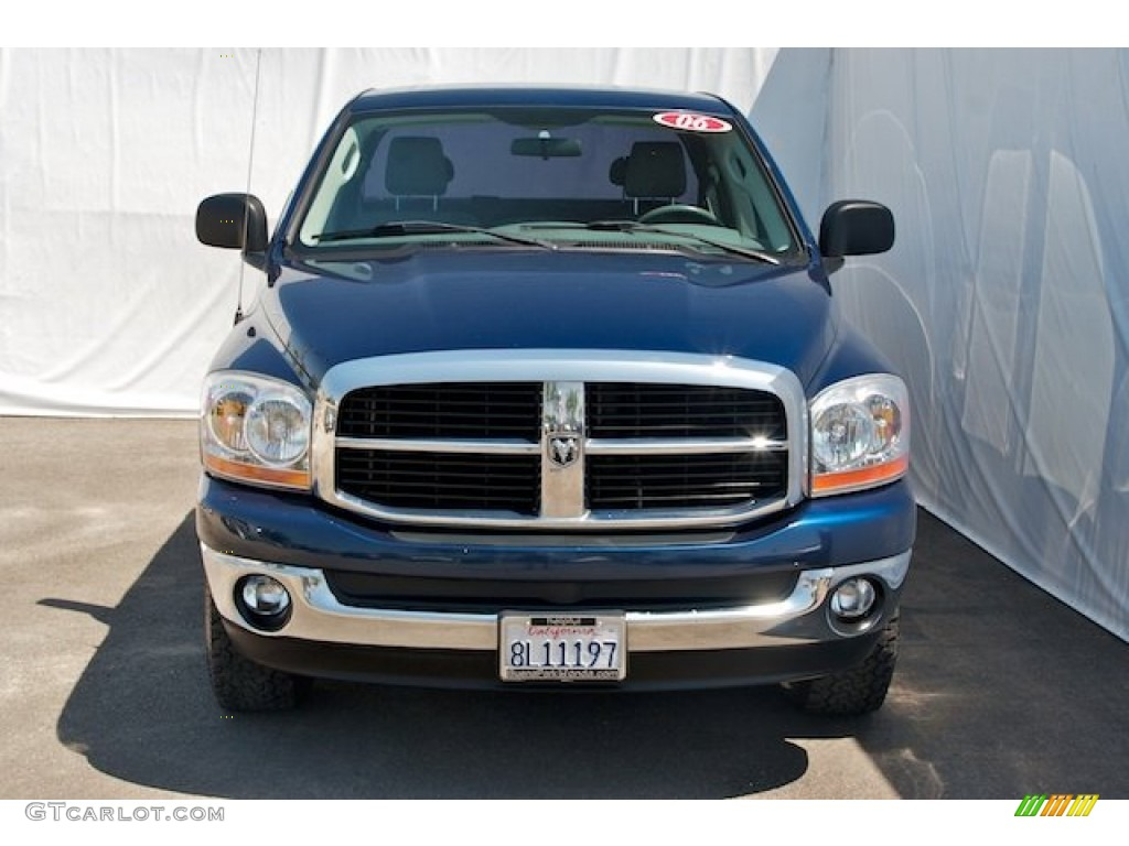 2006 Ram 1500 SLT Quad Cab 4x4 - Patriot Blue Pearl / Khaki Beige photo #7