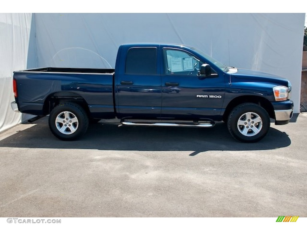 2006 Ram 1500 SLT Quad Cab 4x4 - Patriot Blue Pearl / Khaki Beige photo #12