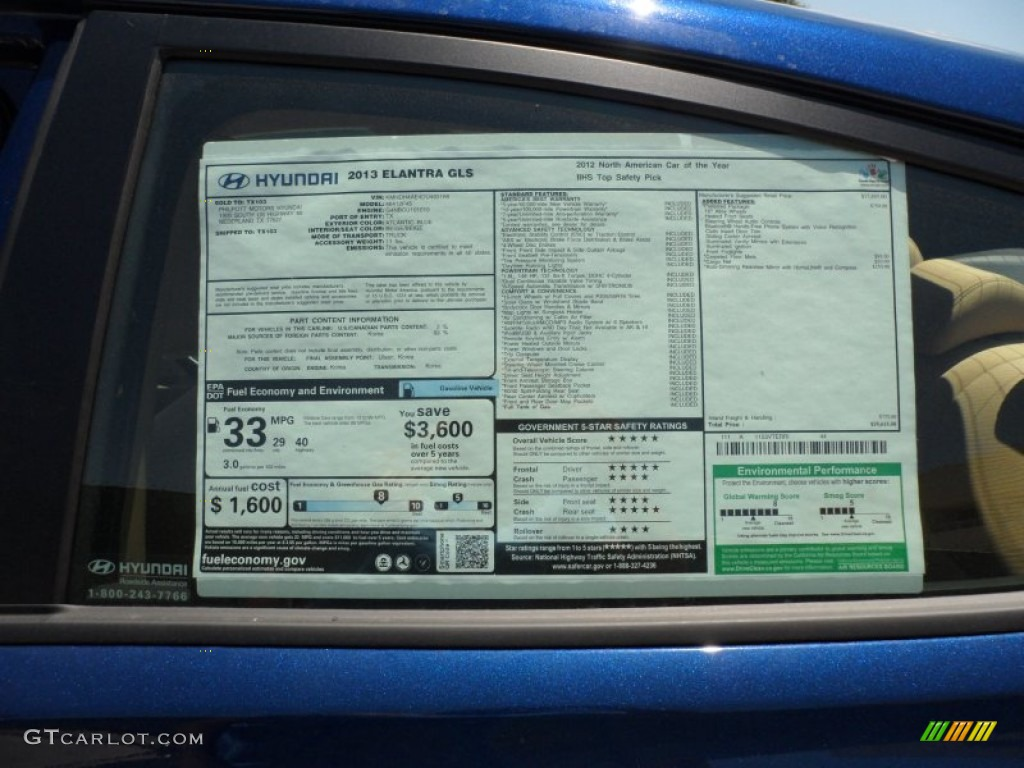 2013 hyundai elantra gls window sticker photo 65799059
