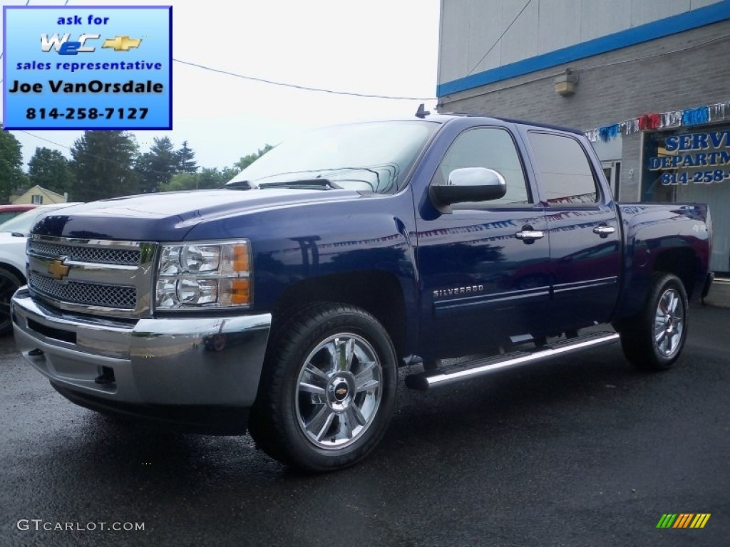 2012 blue topaz metallic chevrolet silverado 1500 lt crew cab 4x4 65970396 car. Black Bedroom Furniture Sets. Home Design Ideas