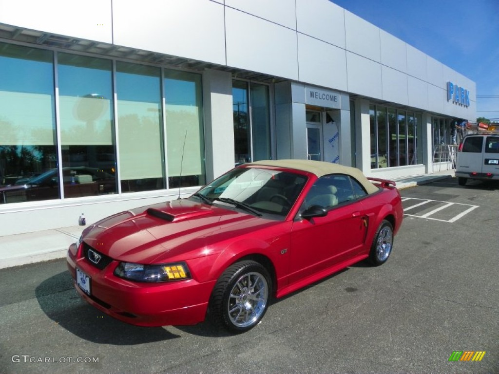 2001 Mustang GT Convertible - Laser Red Metallic / Medium Parchment photo #1