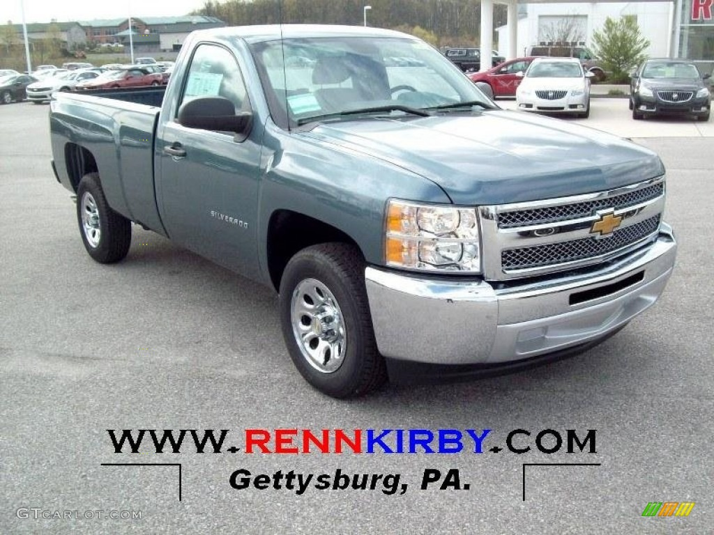 2012 Silverado 1500 LS Regular Cab 4x4 - Blue Granite Metallic / Dark Titanium photo #1