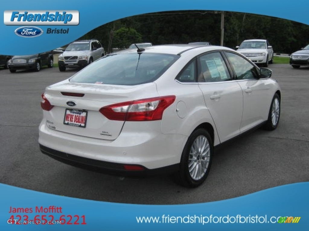 2012 Focus SEL Sedan - White Platinum Tricoat Metallic / Charcoal Black Leather photo #7