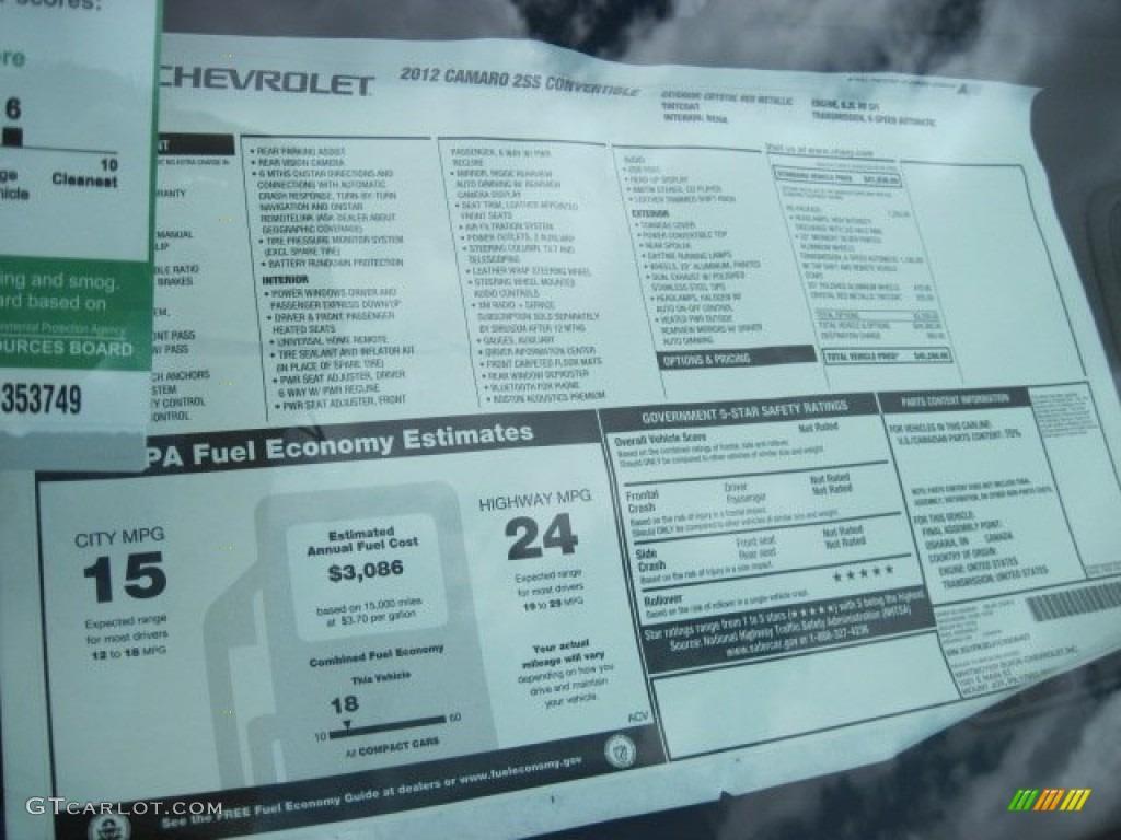 2012 Chevrolet Camaro Ss Rs Convertible Window Sticker