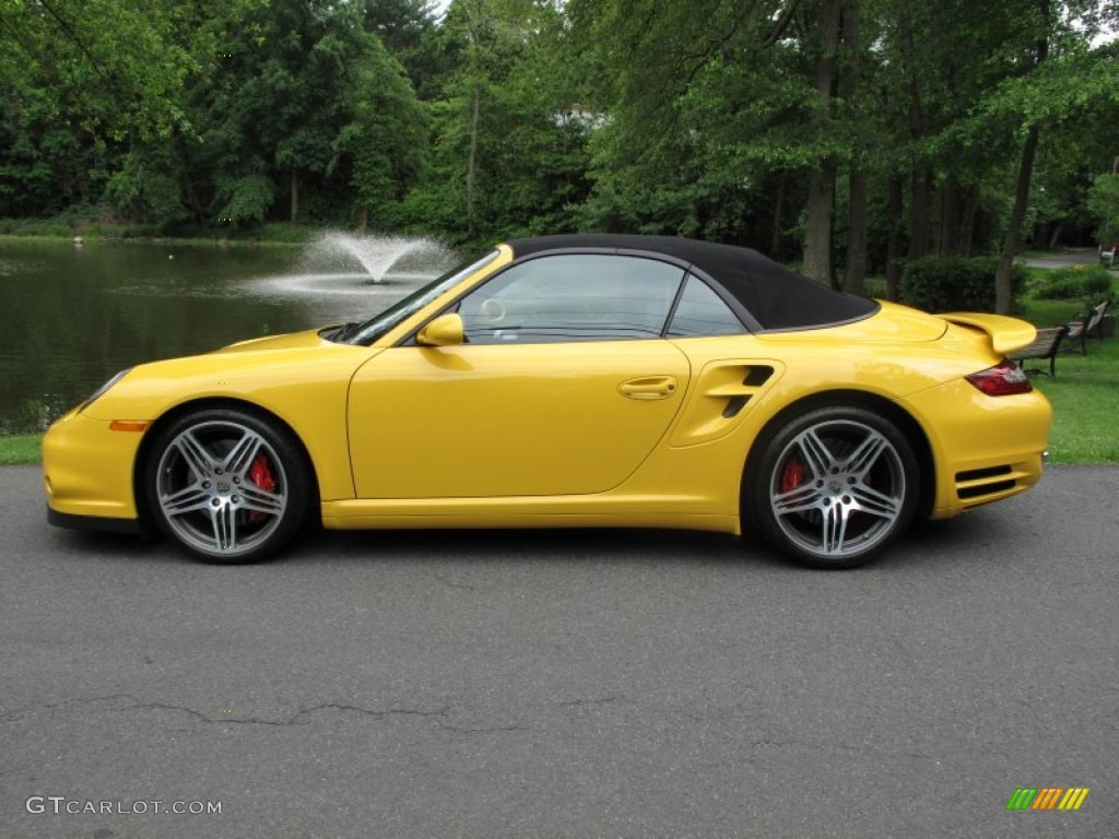 speed yellow 2009 porsche 911 turbo cabriolet exterior. Black Bedroom Furniture Sets. Home Design Ideas