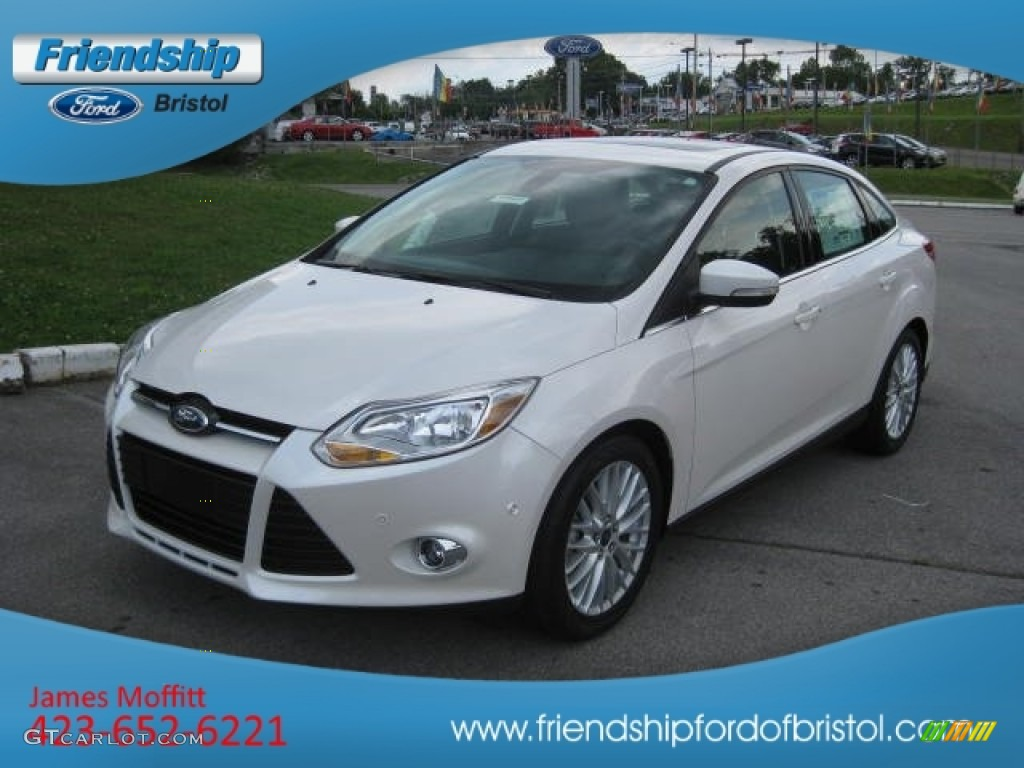 2012 Focus SEL Sedan - White Platinum Tricoat Metallic / Charcoal Black Leather photo #21
