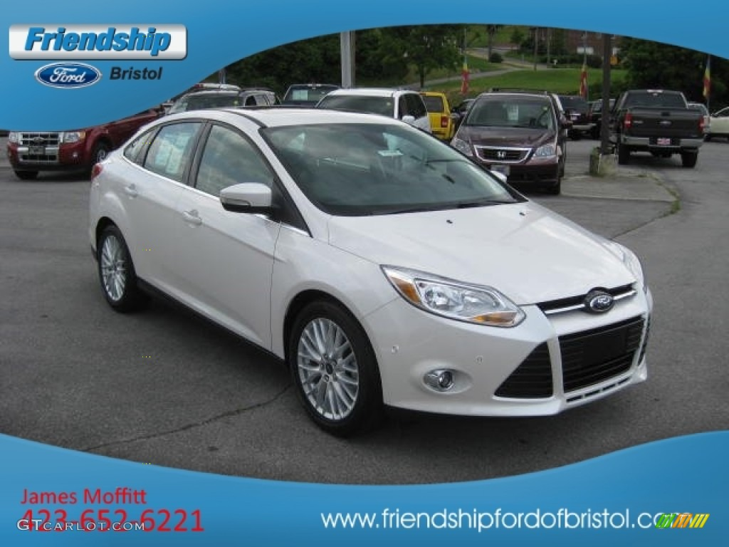 2012 Focus SEL Sedan - White Platinum Tricoat Metallic / Charcoal Black Leather photo #23