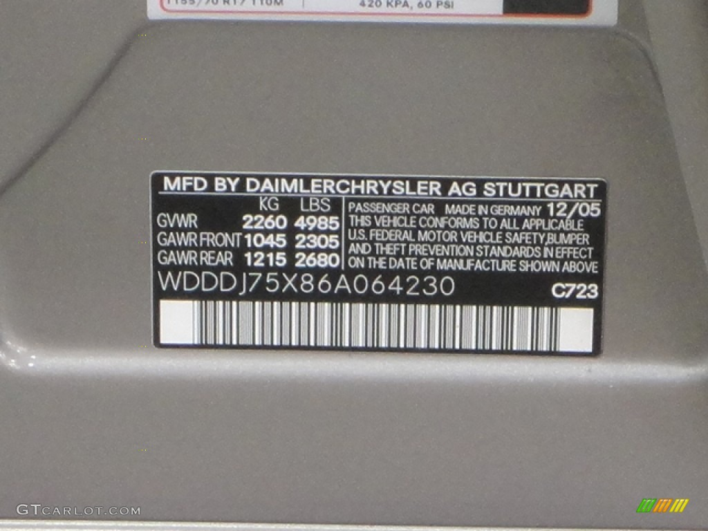 2006 CLS Color Code 723 for Pewter Metallic Photo ...