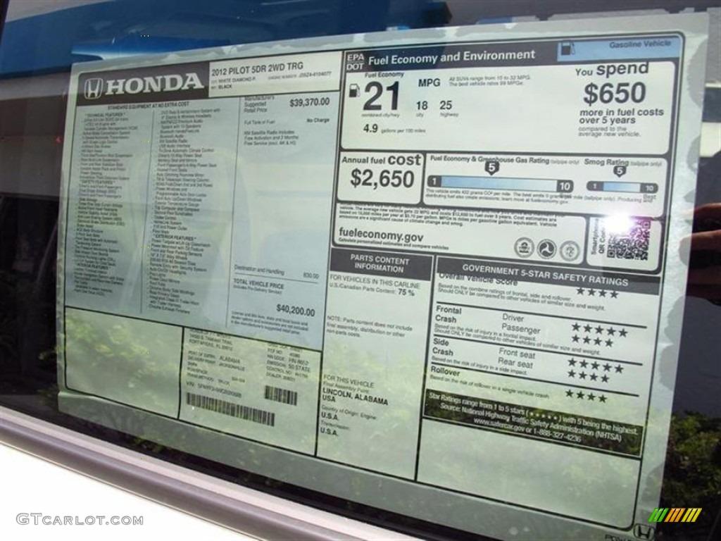 2012 Honda Pilot Touring Window Sticker Photo 66432518