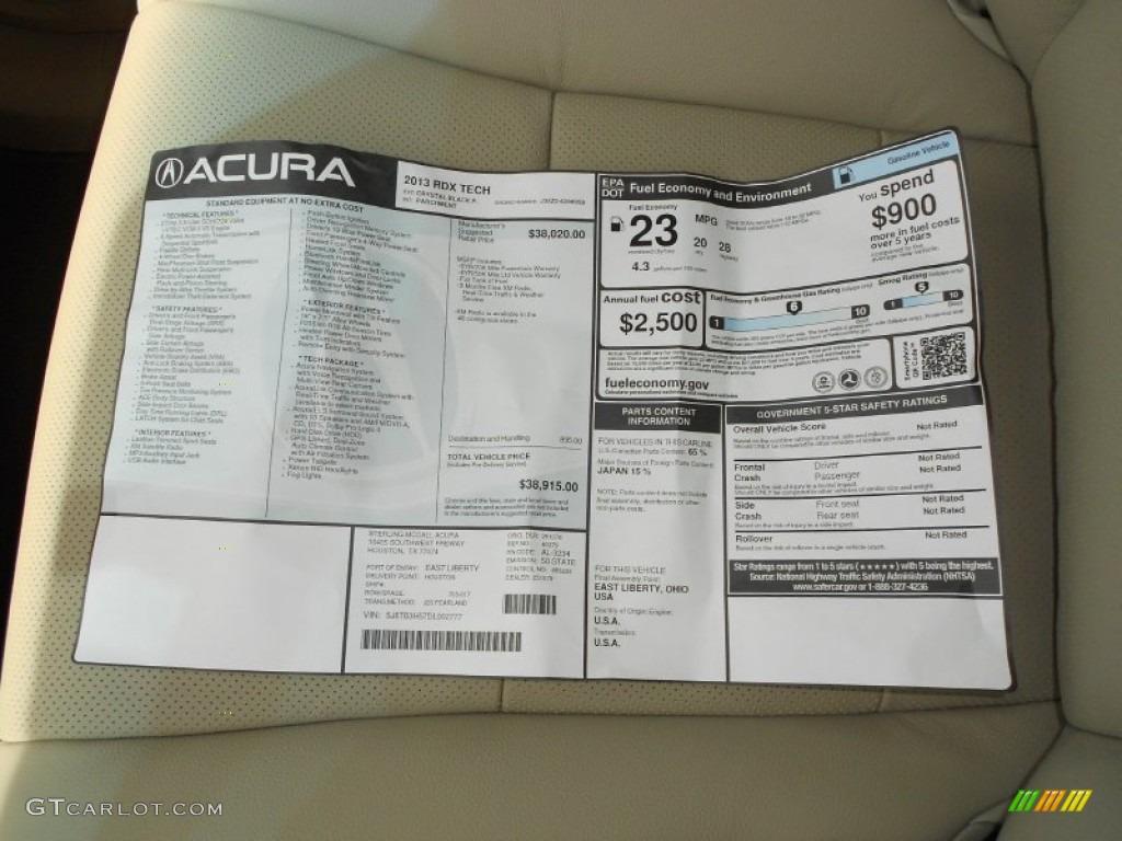 2013 Acura RDX Technology Window Sticker Photos | GTCarLot.com