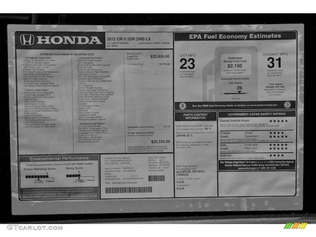 2009 Honda Crv Price 2012 Honda CR-V LX Window Sticker Photo #66559239 ...