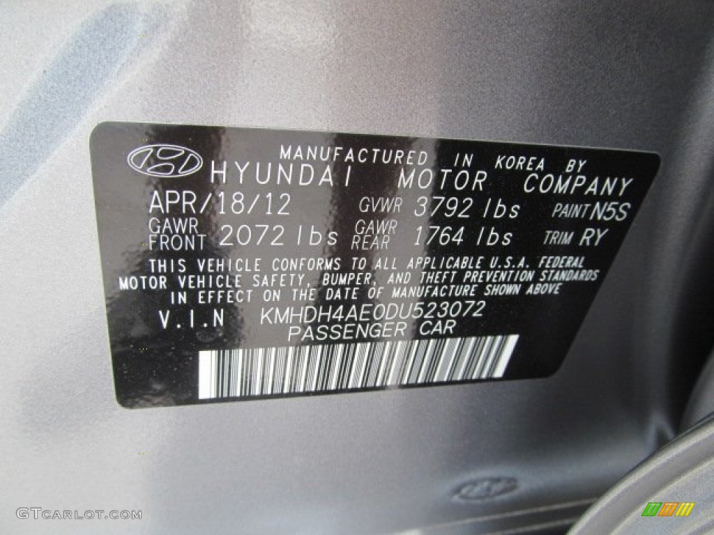 2013 Elantra Color Code N5s For Titanium Gray Metallic